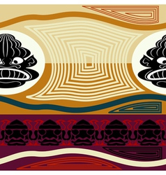 Ethnic seamless texture with black mask vector image vector image