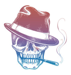 gangster colorful skull with cigarette sketch vector image