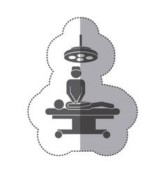 sticker monochrome pictogram patient in surgery vector image