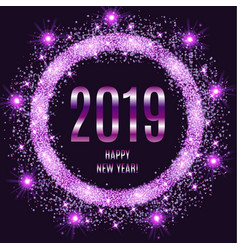 2019 happy new year glowing violet background vector image