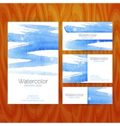 Business Set Template with Blue Watercolor vector image vector image