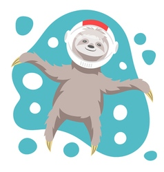 dreamy happy sloth floating in space in space vector image