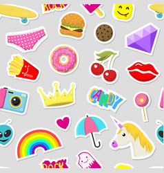 girl fashion stickers patches cute colorful badges vector image