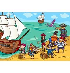 pirates with ship cartoon vector image