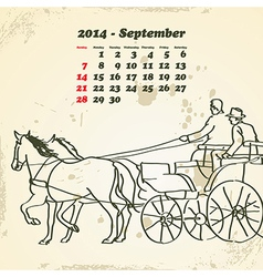 September 2014 hand drawn horse calendar vector image vector image