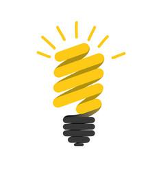 Color silhouette of florescent spiral bulb idea vector