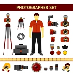 Set of Photographer icons - cameras tripod vector image