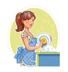 Beautiful girl washing plate vector image