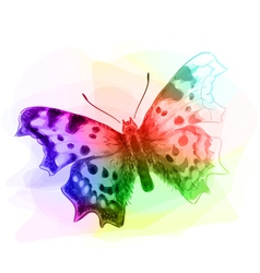 Butterfly Iridescen colours Unfinished Watercolor vector image