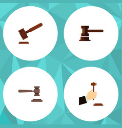 flat icon hammer set of law government building vector image vector image