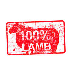 100 per cent lamb - red rubber dirty grungy stamp vector image