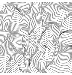 abstract dynamical rippled surface black and vector image