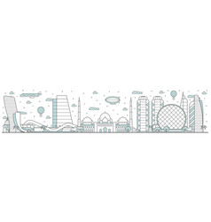 abu dhabi skyline line cityscape with building vector image