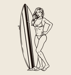 Attractive female surfer with surfboard vector