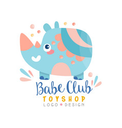 babe club toyshop logo design badge with cute vector image