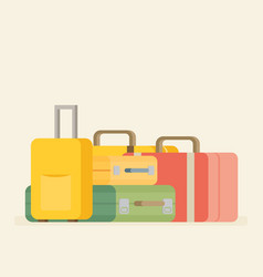 Baggage luggage suitcases on background flat vector