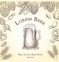 beer label vintage pub banner flyer vector image