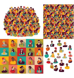 Big group young happy casual people faces set vector