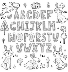 black and white alphabet with cute rabbits vector image