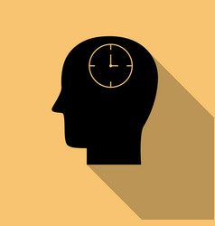 black head and clock icon with long shadow vector image
