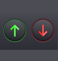 Black round buttons up and down green and red vector
