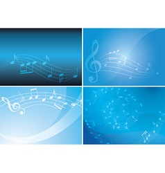 blue backgrounds with musical notes and gradient vector image