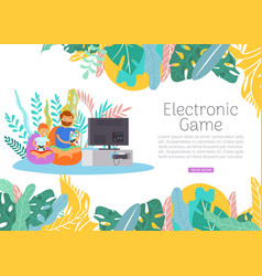 boy together with father play electronic video vector image