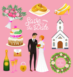 Bride and groom wedding ceremony set newlyweds vector