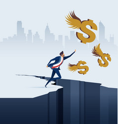 Businessman chasing dollars in business concept vector