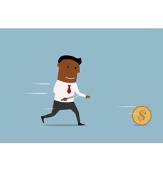 Cartoon businessman chases golden dollar coin vector image