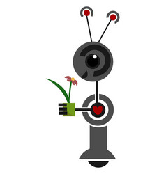 Cartoon funny robot holding a flower or color vector