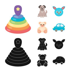 Children toy cartoonblack icons in set collection vector