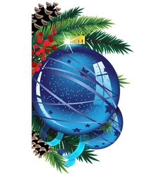 Christmas ball with pine branches and tinsel vector image