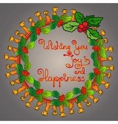 Christmas wreath handwritten words Wishing You vector image