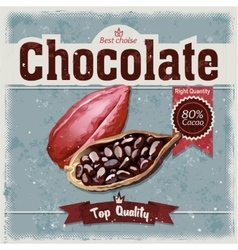 Cocoa bean on grunge background vector image