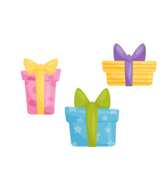 colorful gift boxes design element for birthday vector image