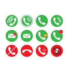 communication of phone call email icon set vector image