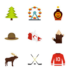 Country of canada icon set flat style vector