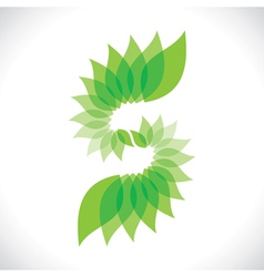 creative green leaf icon vector image