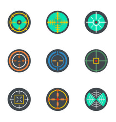 crosshair icon set flat style vector image