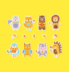 cute animals colourful stickers collection lovely vector image