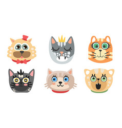 Cute cartoon cats and dogs muzzle set vector