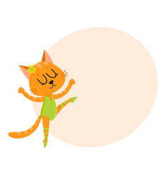 Cute little cat kitten character ballet dancer vector