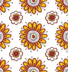 Cute seamless pattern with floral elements vector image
