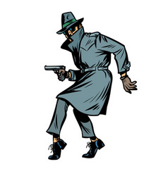 detective spy man with gun pose isolate on white vector image