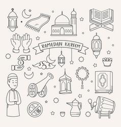 Doodle hand drawn ramadan kareem vector
