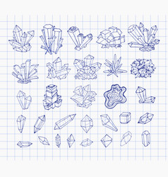 Doodle pen sketch crystals collection of minerals vector