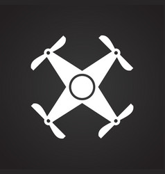 Drone quadcopter icon on black background for vector
