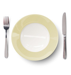 Empty plate with ivory-colored design with knife vector