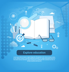 explore education online concept web banner with vector image